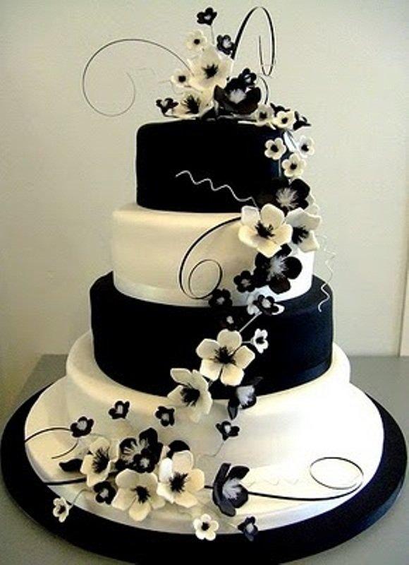 bolo de casamento preto e branco