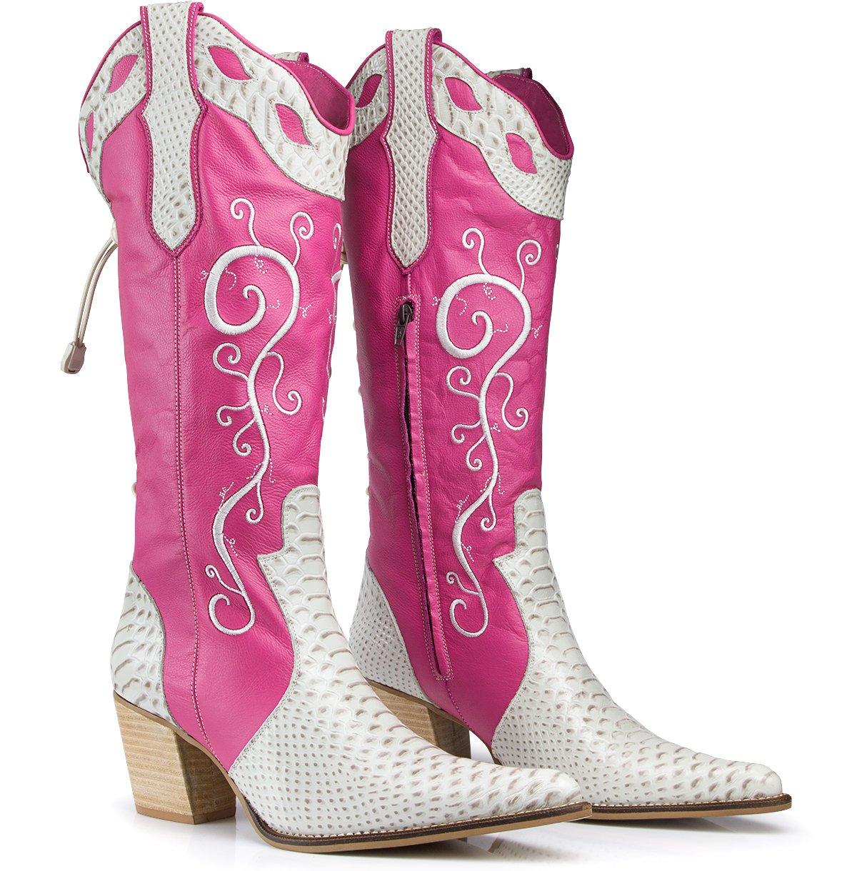 bota country em rosa