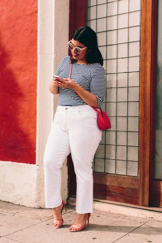 calca jeans plus size branca listras