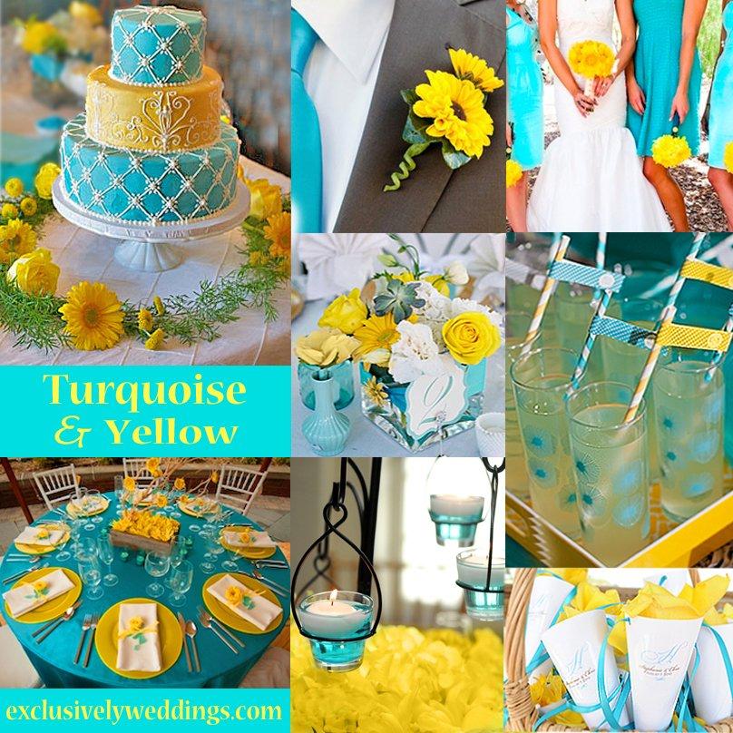 cores de casamento turquesa e amarelo
