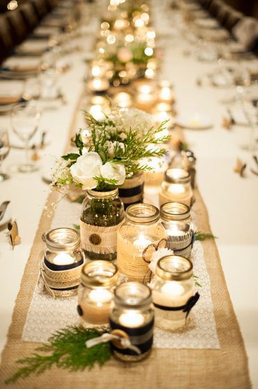 decoracao mesa casamento longa frascos vidro