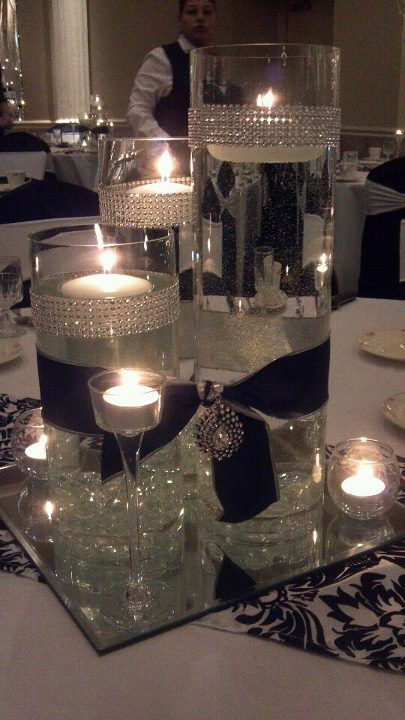 decoracao mesa casamento prateado preto