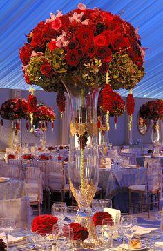 decoracao mesa casamento vermelho