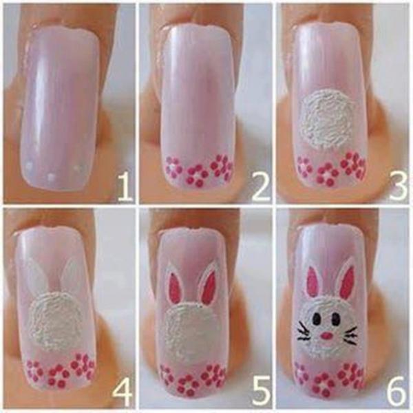 desenhos de coelhos nas unhas