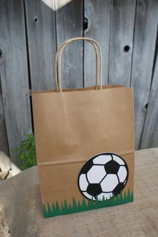 diy sacola papel festa futebol