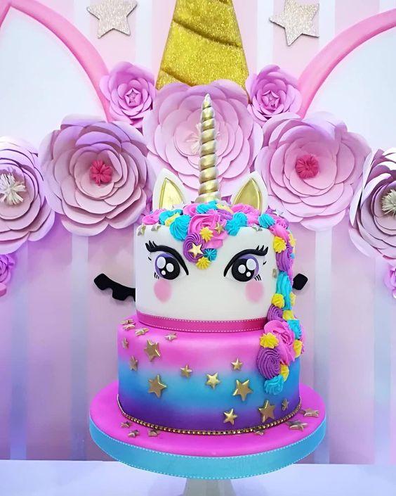 festa unicornio bolo decorado
