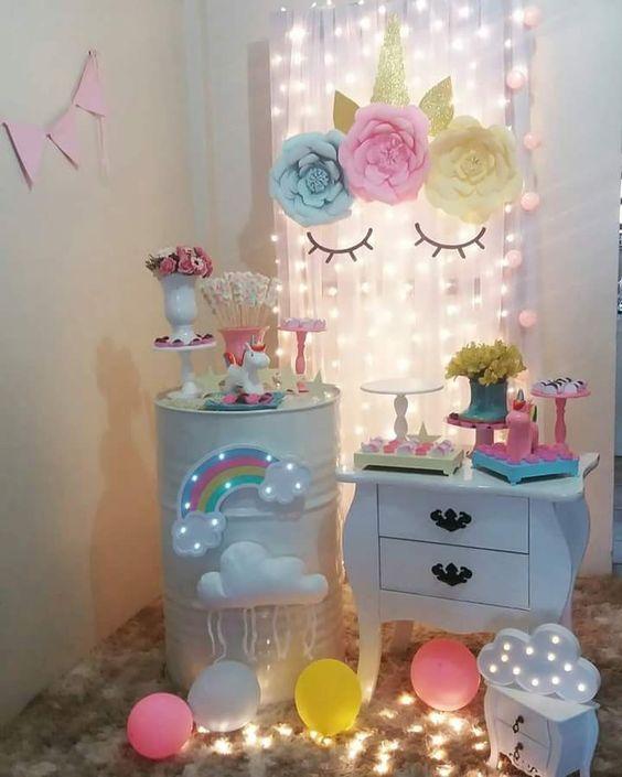festa unicornio decoracao painel flores