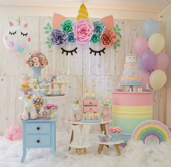 festa unicornio decoracao painel ideias