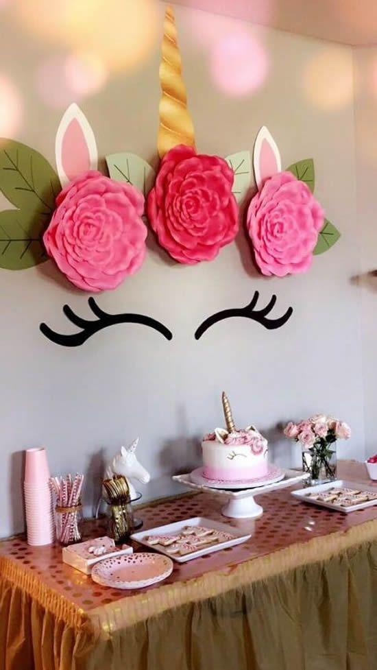 festa unicornio decoracao painel simples
