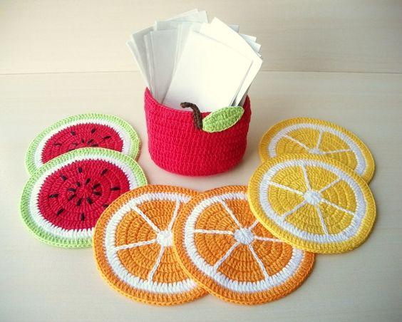frutas croche ideias base copos