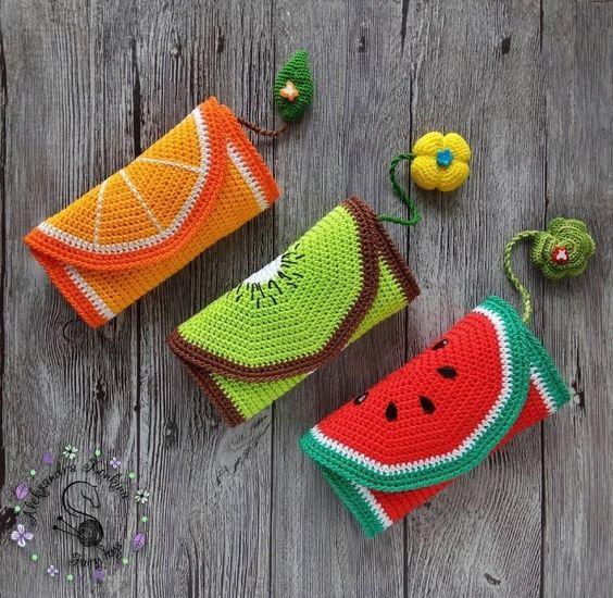 frutas croche ideias bolsa