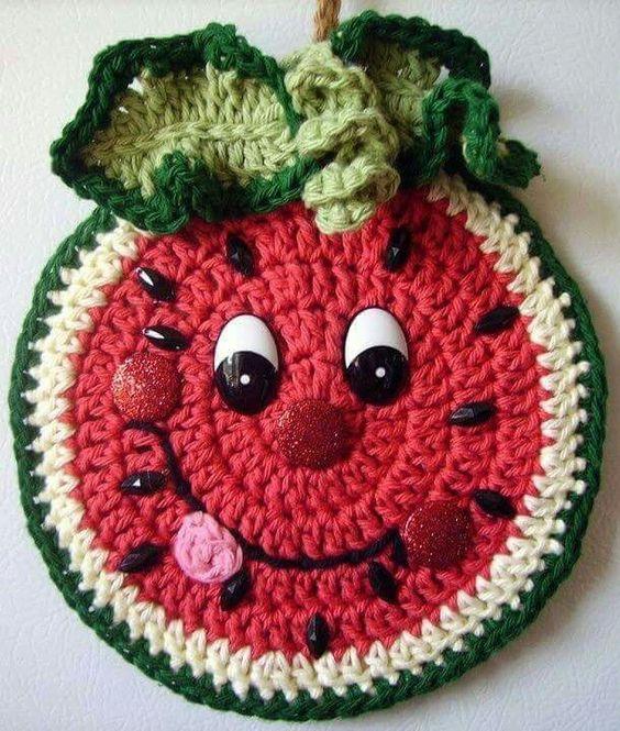 frutas croche ideias melancia