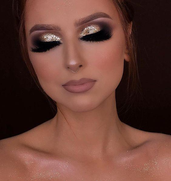 maquiagem dourada profissional