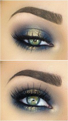 maquiagem dourado azul