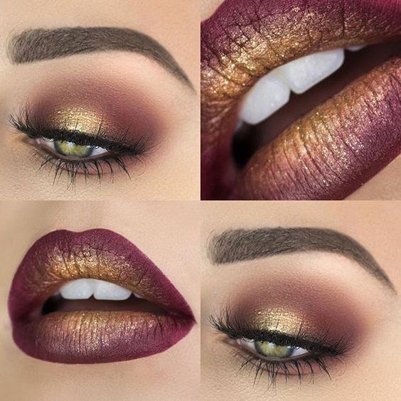 maquiagem dourado marron