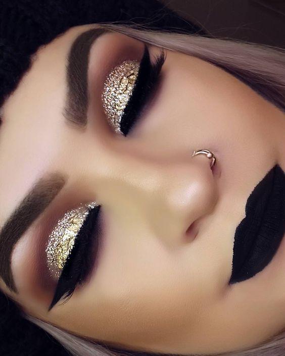 maquiagem dourado preto
