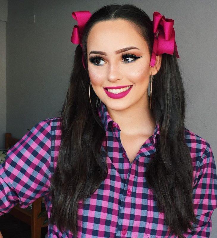 maquiagem festa junina adulto rosa