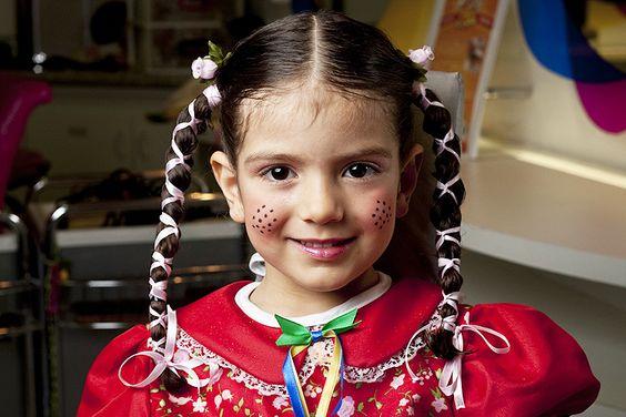 maquiagem festa junina menina colorida