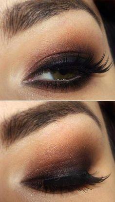 maquiagem marron olho esfumado