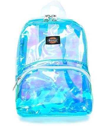 mochila transparente colorida azul