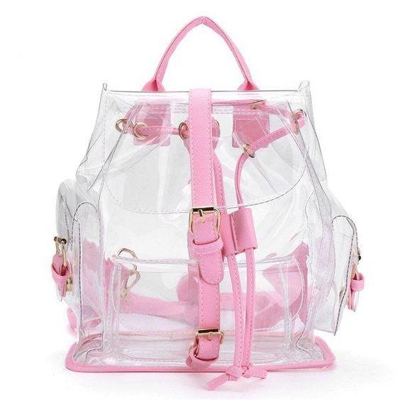 mochila transparente colorida rosa