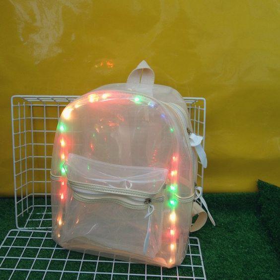mochila transparente decorada led