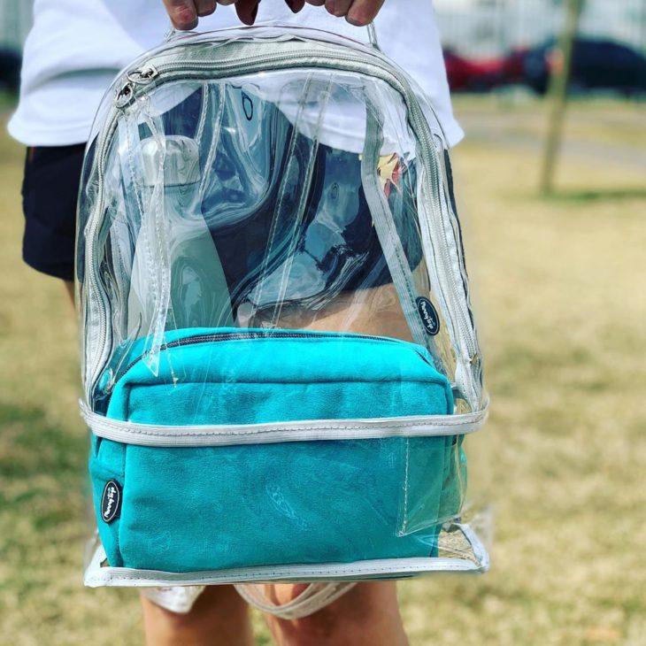 mochila transparente escolar azul