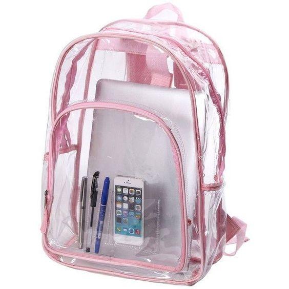 mochila transparente escolar rosa