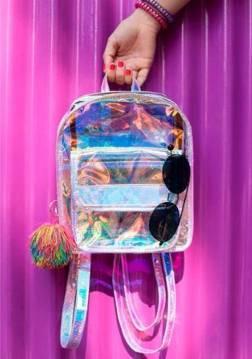 mochila transparente holografica colorida