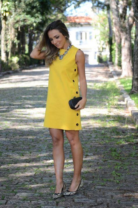 modelo vestido amarelo casual