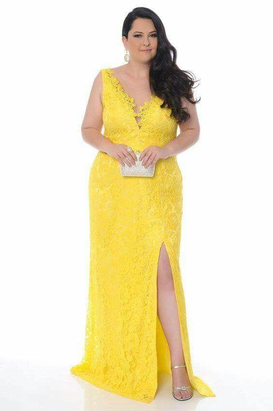 modelo vestido amarelo plus size 1