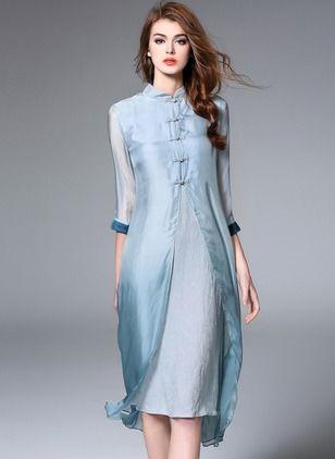 modelo vetido seda azul