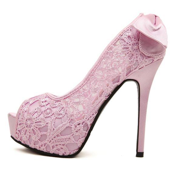 modelos sapatos noiva renda rosa
