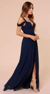 modelos vestidos dama azul
