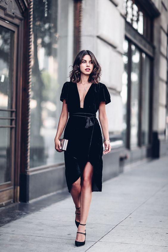 modelos vestidos fenda preto