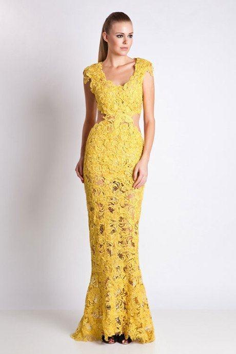 modelos vestidos guipir amarelo