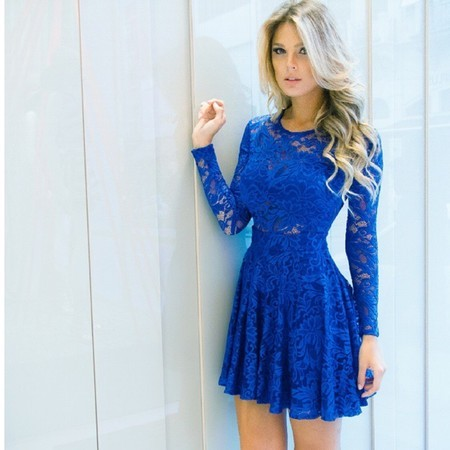modelos vestidos guipir azul