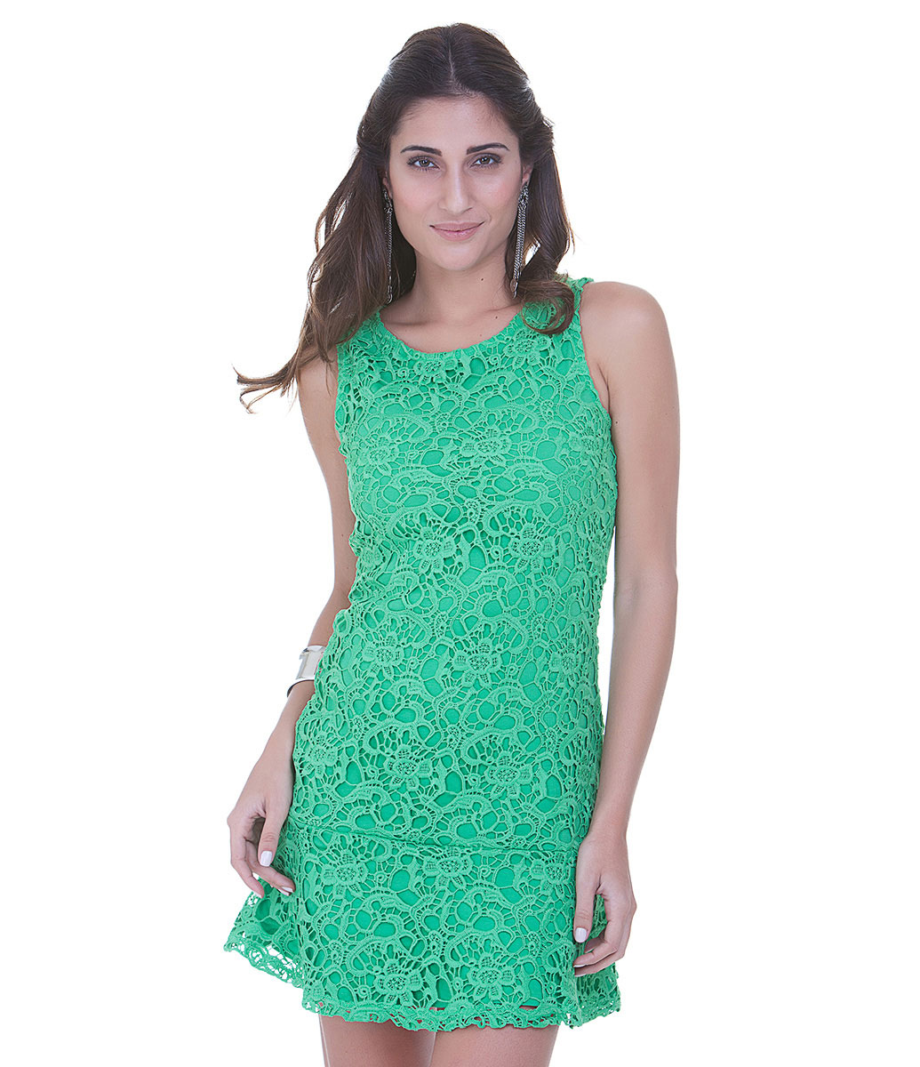Vestido de guipir curto verde