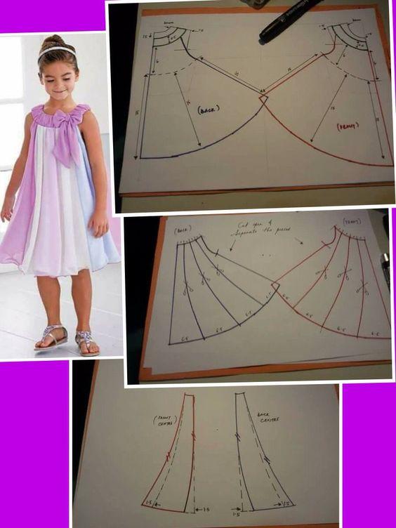 moldes vestido infantil festa cetim