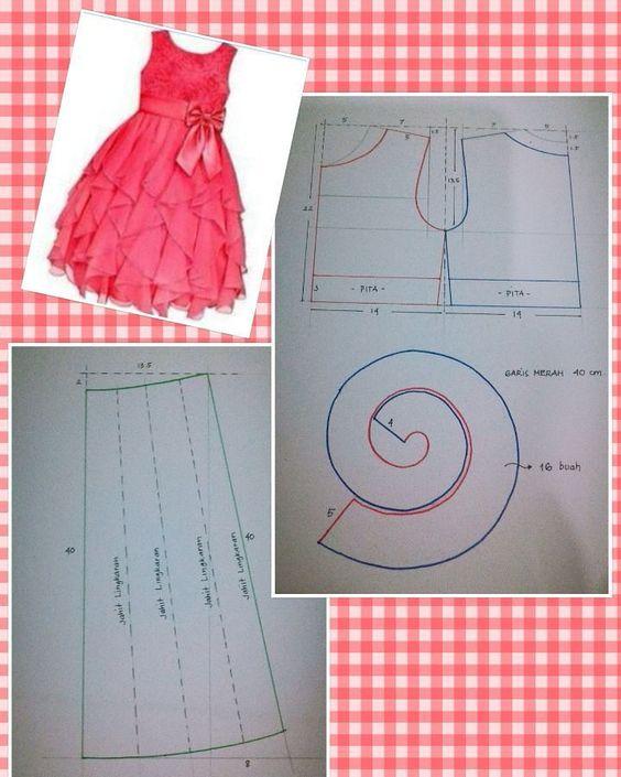 moldes vestido infantil festa rosa