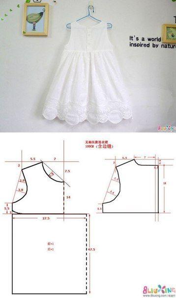 moldes vestido infantil simples branco