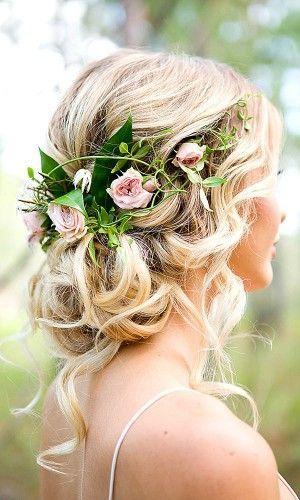peteados noiva flores