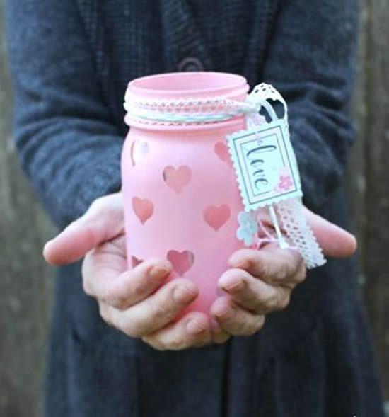 potes decorados dia namorados rosa