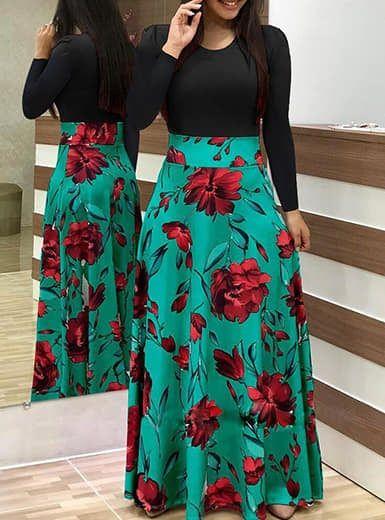 saia longa estampa floral