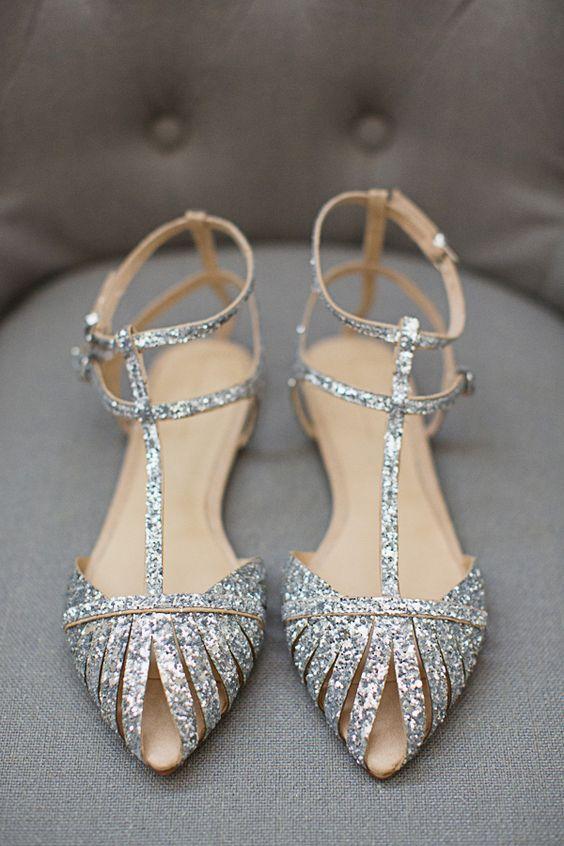 sandalia brilho prateada