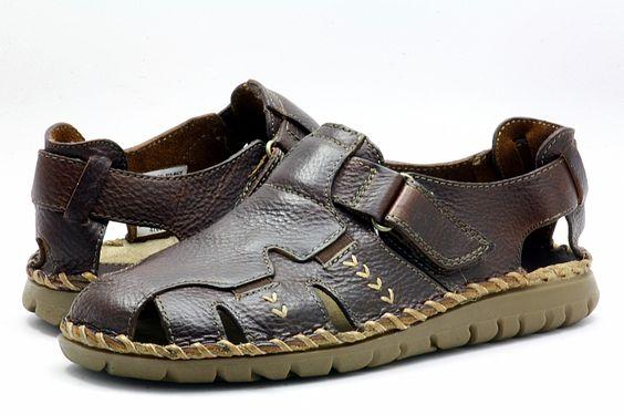 sandalias masculinas pele