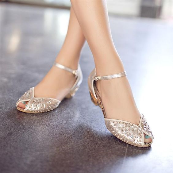 sapatos noiva baixos brilho