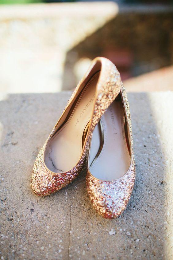 sapatos noiva baixos dourados