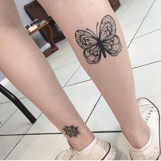 tatuagem canela feminina borboleta ideias