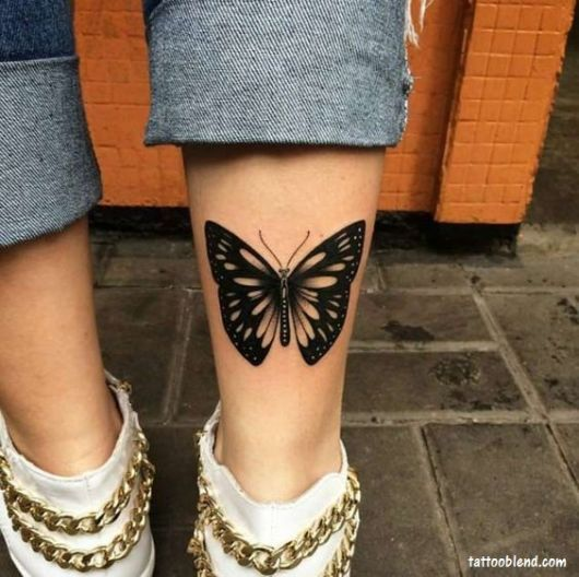 tatuagem canela feminina borboleta